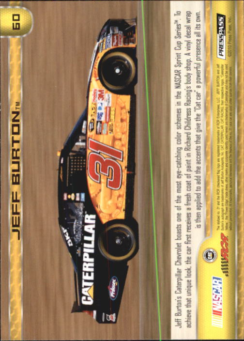 2011 Press Pass #60 Jeff Burton's Car back image