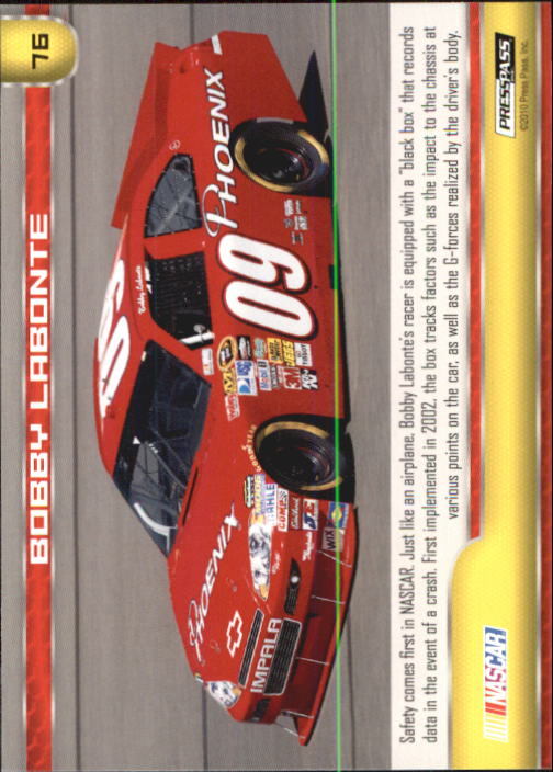 2011 Press Pass #76 Bobby Labonte's Car back image