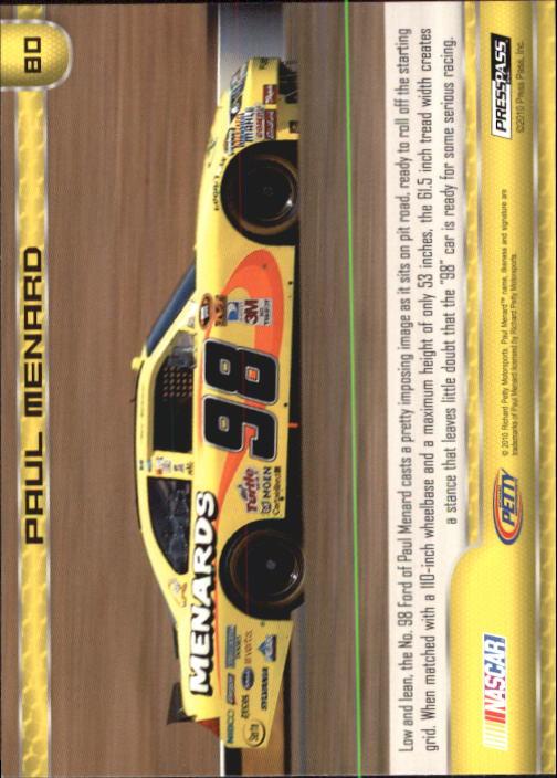 2011 Press Pass #80 Paul Menard's Car back image