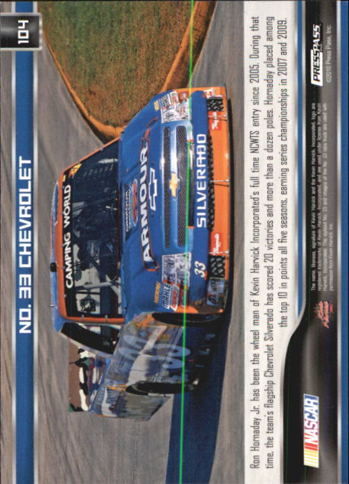 2011 Press Pass #104 Ron Hornaday's Truck back image