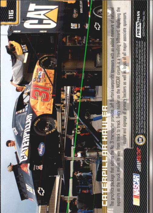 2011 Press Pass #116 Jeff Burton's Rig back image