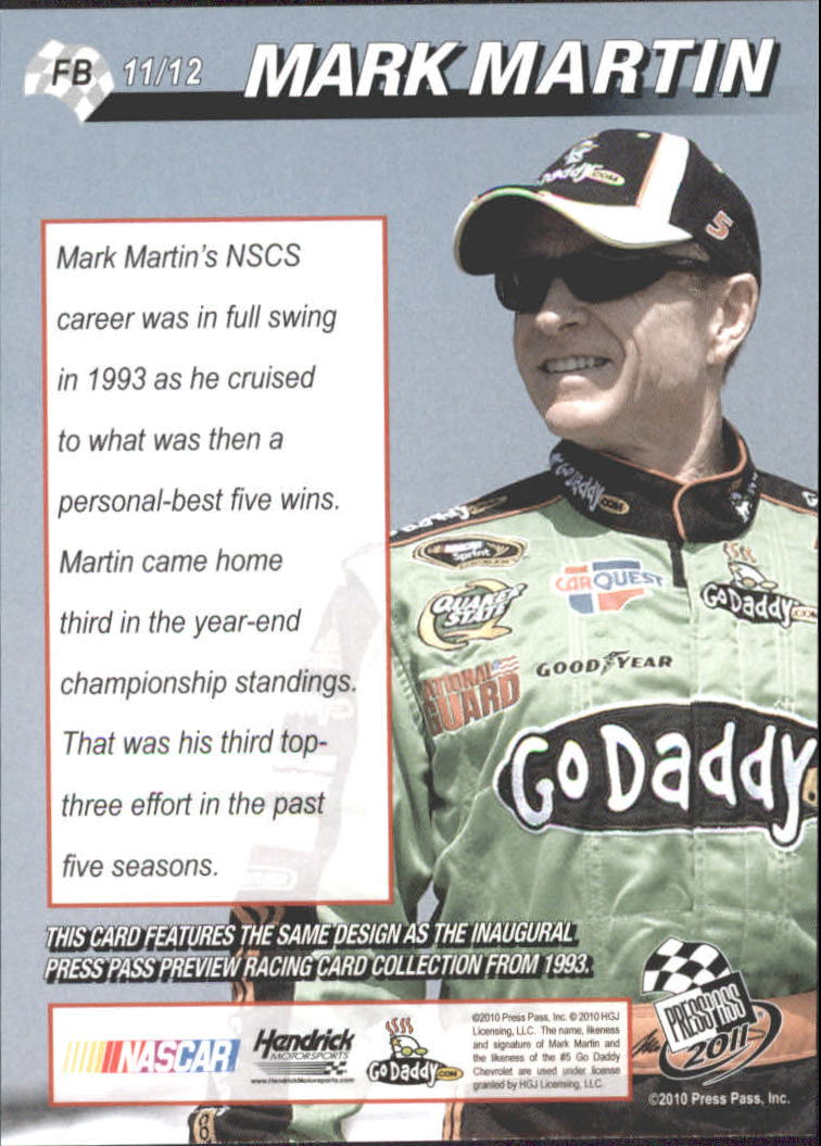2011 Press Pass Flashback #FB11 Mark Martin back image