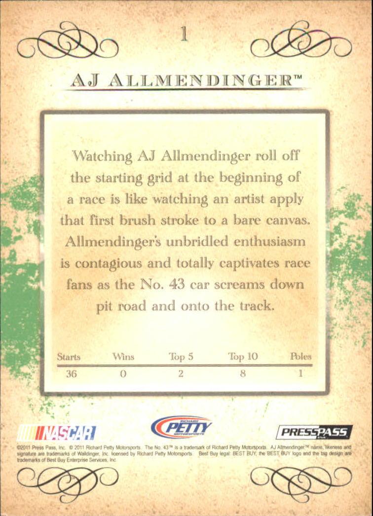 2011 Press Pass Eclipse #1 A.J. Allmendinger back image