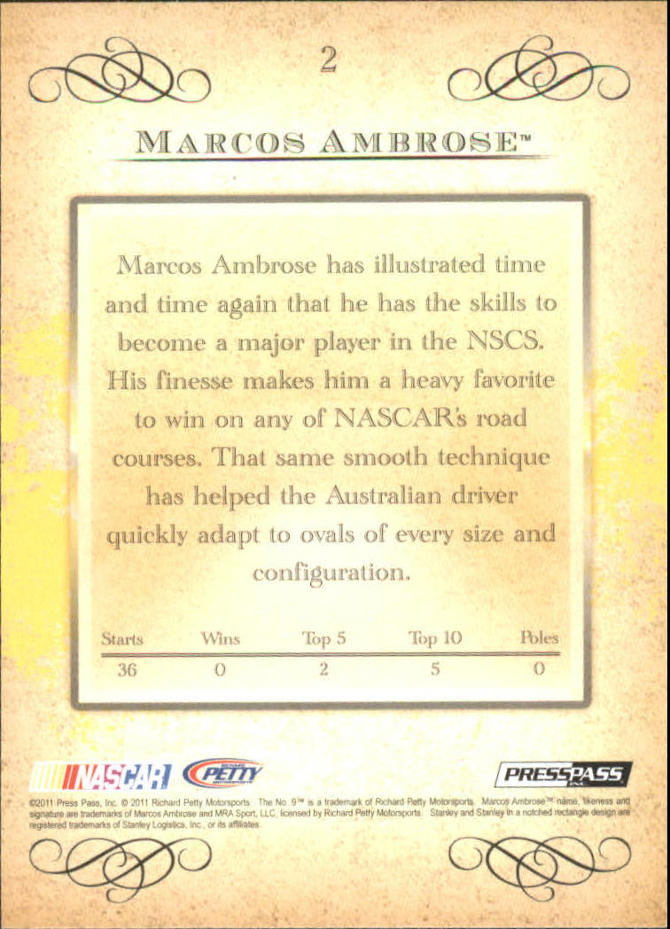 2011 Press Pass Eclipse #2 Marcos Ambrose back image