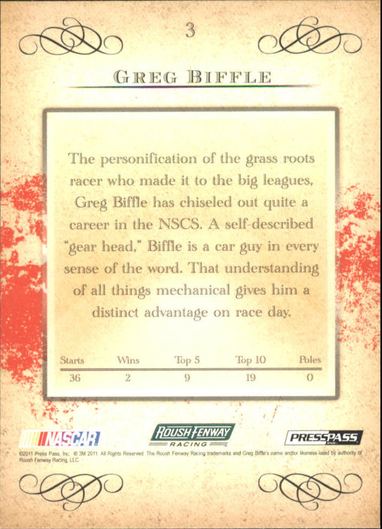 2011 Press Pass Eclipse #3 Greg Biffle back image
