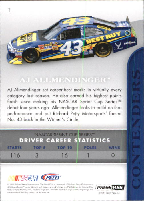 2011 Press Pass Premium #1 A.J. Allmendinger back image