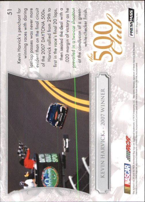 2011 Press Pass Premium #51 Kevin Harvick D500 back image