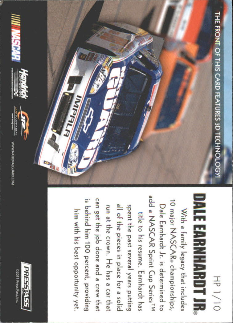 2011 Press Pass Premium Hot Pursuit 3D #HP1 Dale Earnhardt Jr. back image