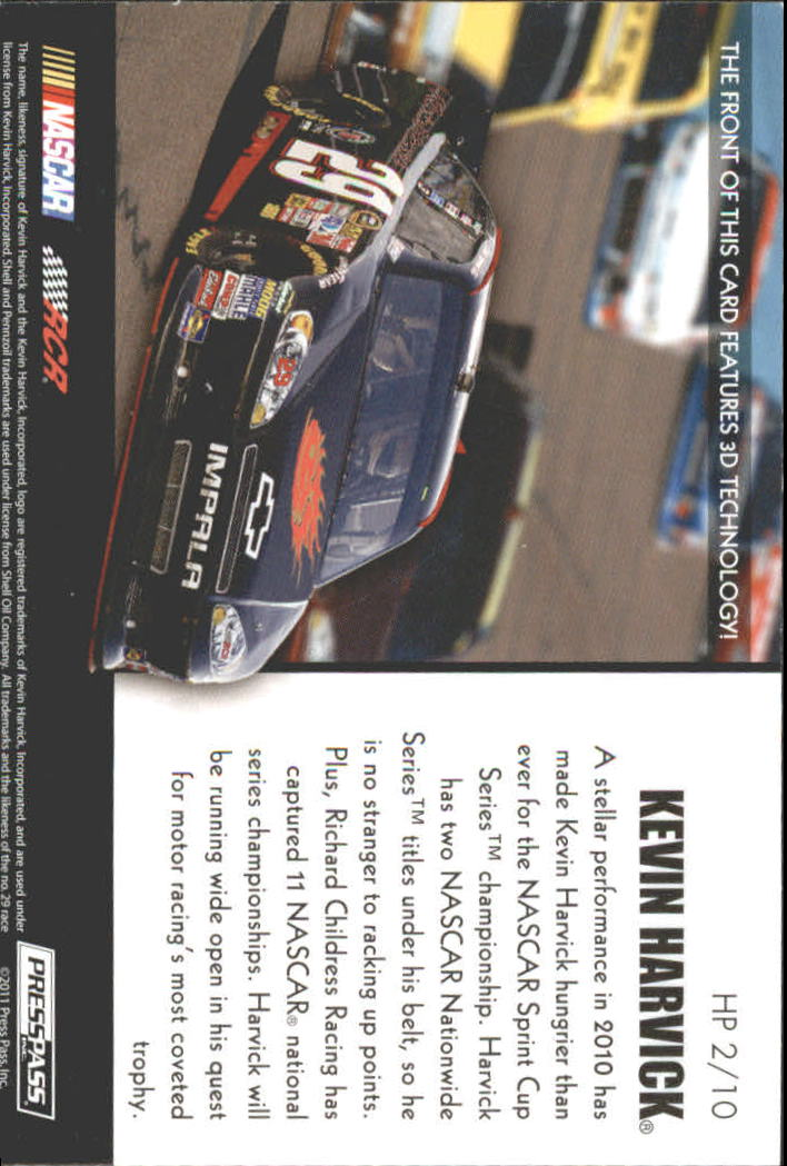 2011 Press Pass Premium Hot Pursuit 3D #HP2 Kevin Harvick back image
