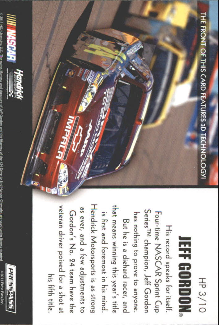 2011 Press Pass Premium Hot Pursuit 3D #HP3 Jeff Gordon back image