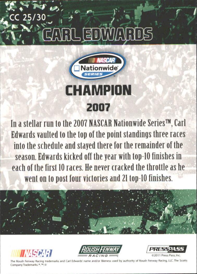 2011 Press Pass FanFare Championship Caliber #CC25 Carl Edwards back image