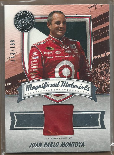 2011 Press Pass FanFare Magnificent Materials #MMJM Juan Pablo Montoya/199