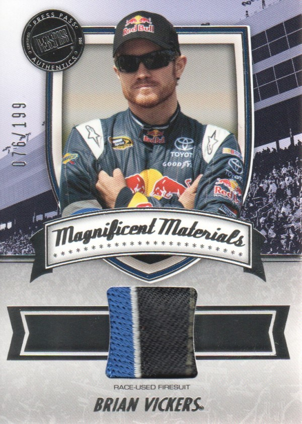 2011 Press Pass FanFare Magnificent Materials #MMBV Brian Vickers/199