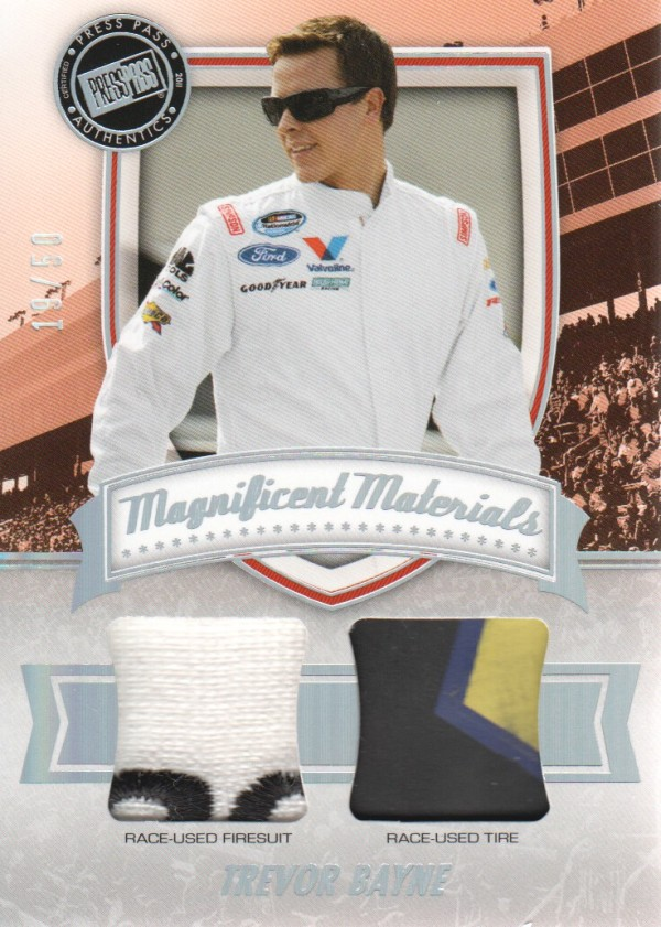 2011 Press Pass FanFare Magnificent Materials Dual Swatches #MMDTB Trevor Bayne