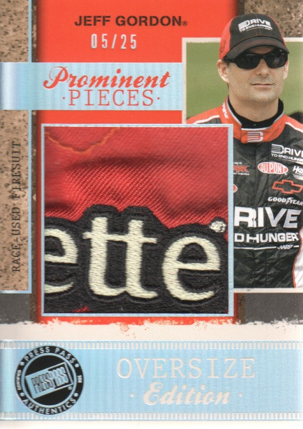 2011 Press Pass Legends Prominent Pieces Oversized Firesuit #PPOEJG Jeff Gordon