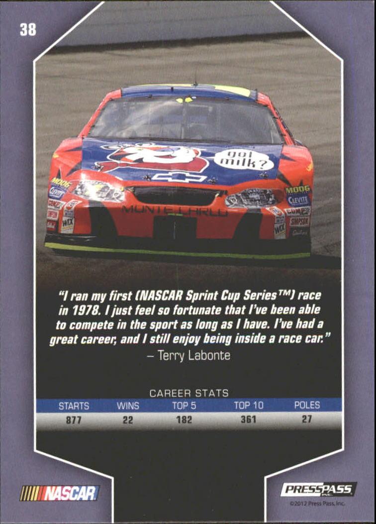 2012 Total Memorabilia #38 Terry Labonte LEG back image