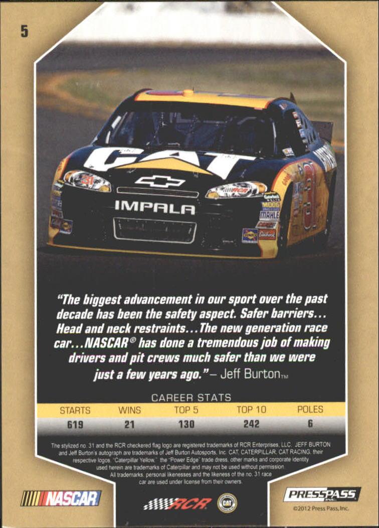 2012 Total Memorabilia Gold #5 Jeff Burton back image