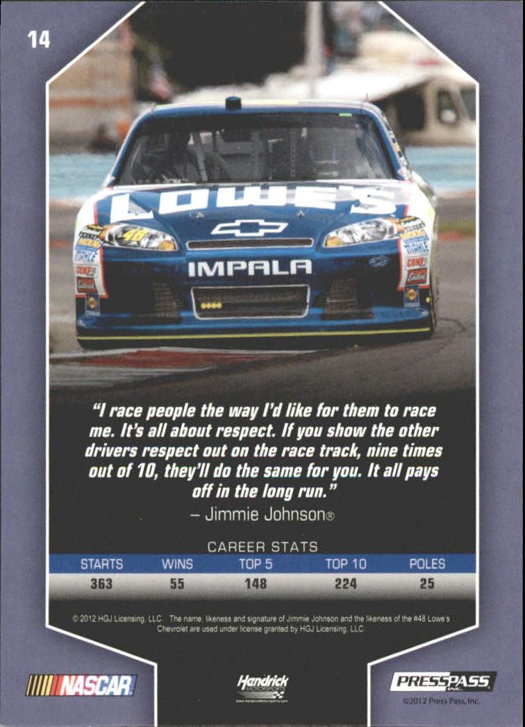 2012 Total Memorabilia Gold #14 Jimmie Johnson back image