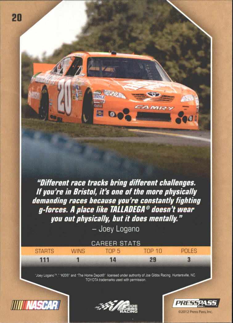 2012 Total Memorabilia Gold #20 Joey Logano back image