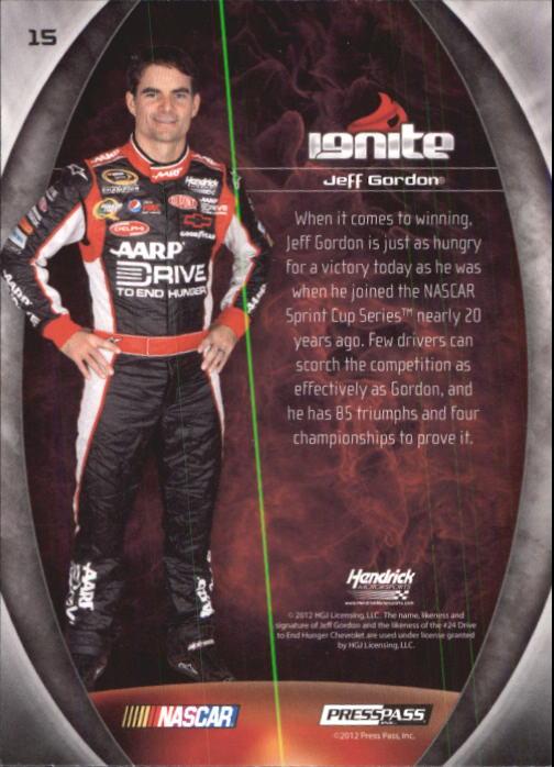 2012 Press Pass Ignite #15 Jeff Gordon back image