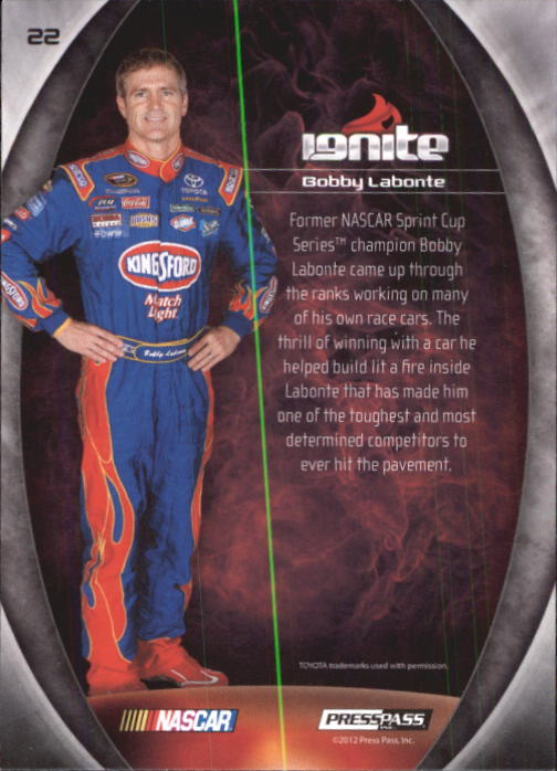 2012 Press Pass Ignite #22 Bobby Labonte back image
