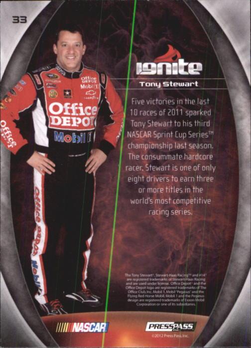 2012 Press Pass Ignite #33 Tony Stewart back image