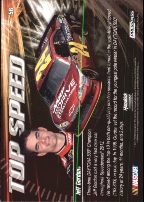 2012 Press Pass Ignite #56 Jeff Gordon's Car TS back image