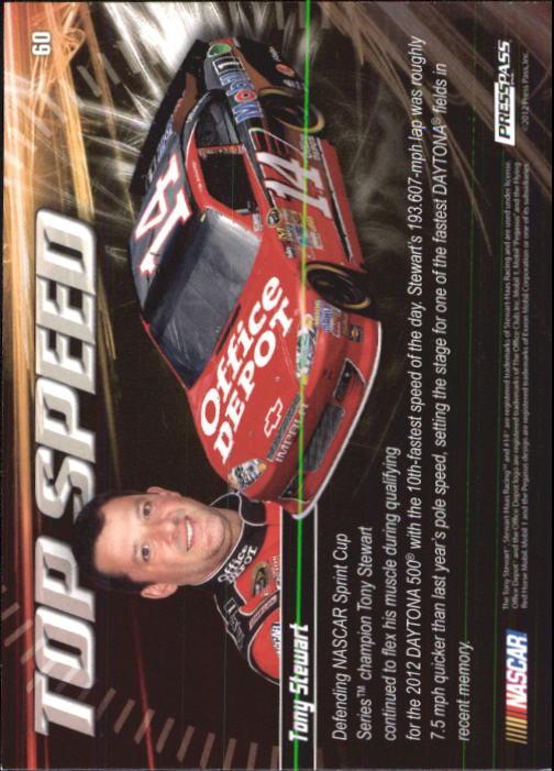2012 Press Pass Ignite #60 Tony Stewart's Car TS back image