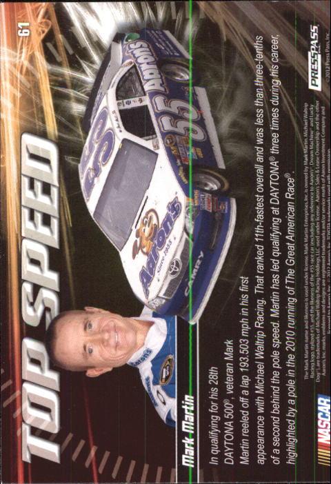2012 Press Pass Ignite #61 Mark Martin's Car TS back image