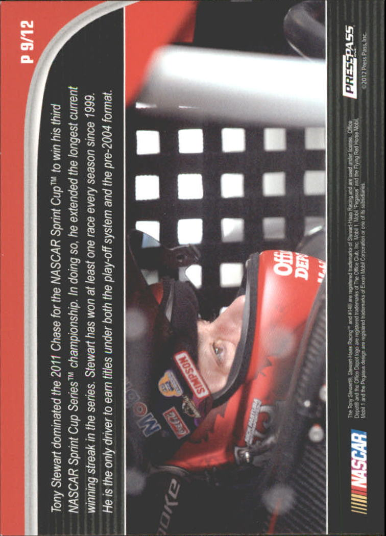 2012 Press Pass Ignite Profile #P9 Tony Stewart back image