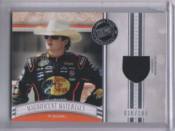 2012 Press Pass Fanfare Magnificent Materials #MMTD Ty Dillon/199