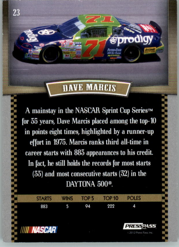 2012 Press Pass Legends Gold #23 Dave Marcis back image