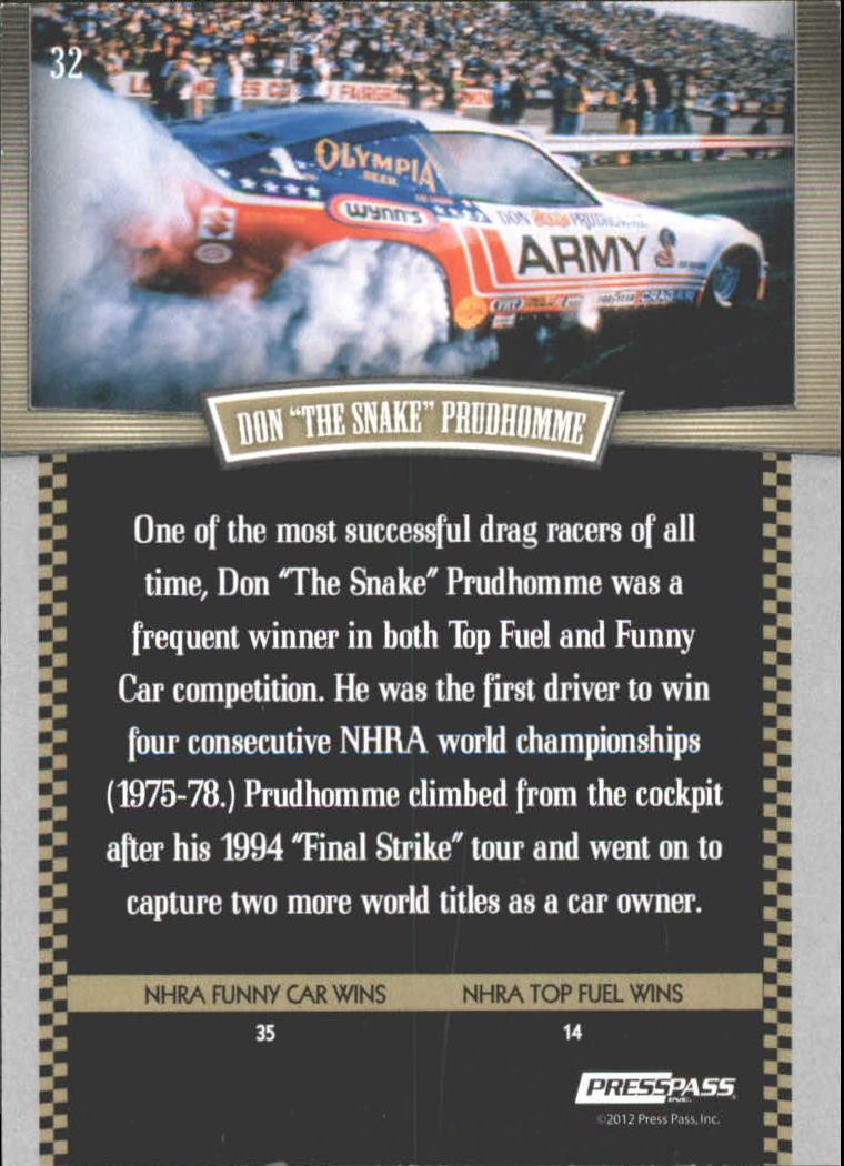 2012 Press Pass Legends Gold #32 Don Prudhomme back image