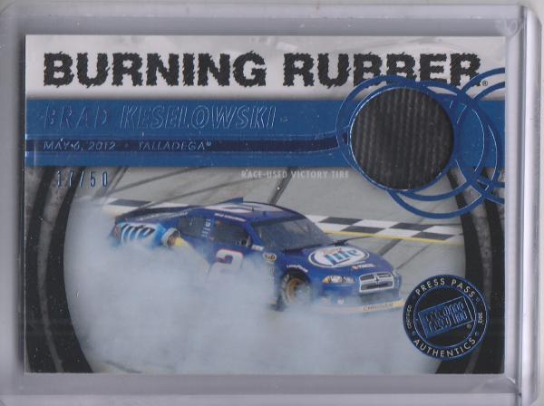 2013 Press Pass Burning Rubber Blue #BRBK2 Brad Keselowski's Car