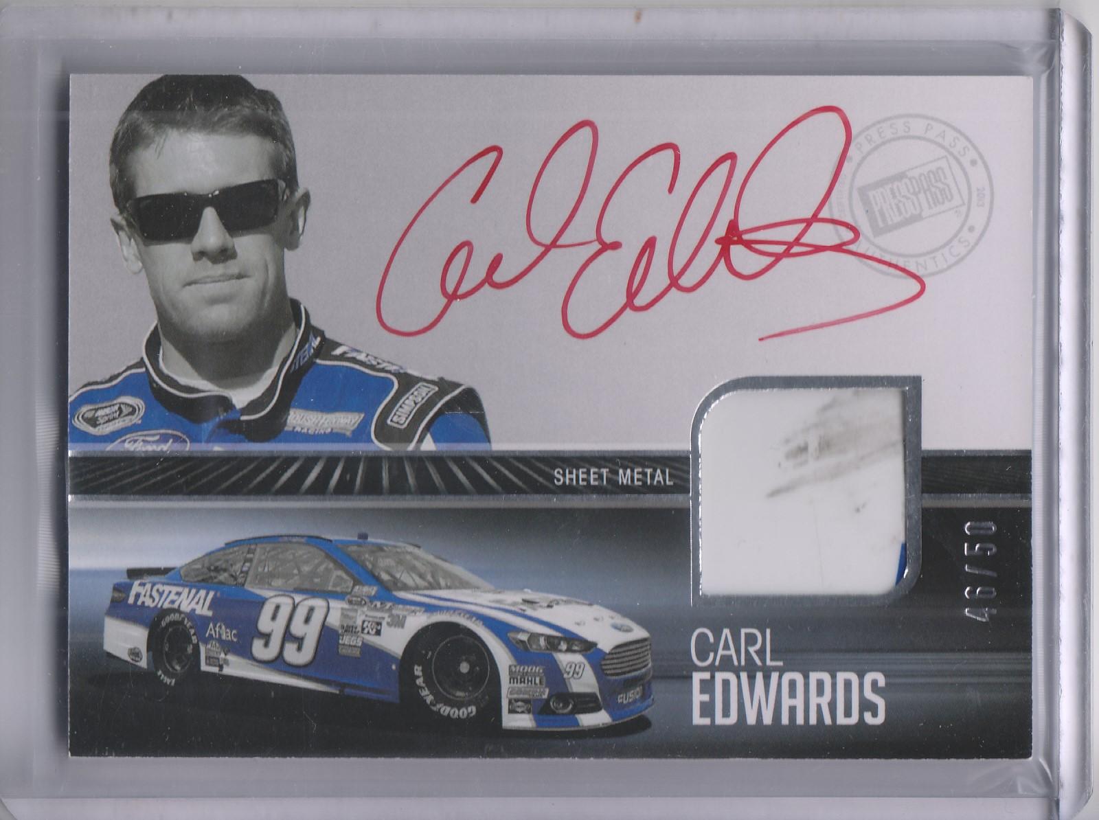 2013 Press Pass Redline Relic Autographs Silver #RRSECE Carl Edwards/50