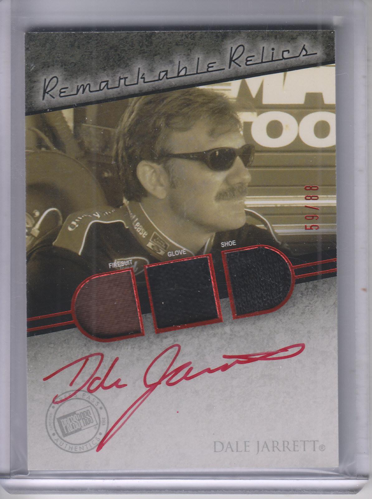 2013 Press Pass Redline Remarkable Relic Autographs Red #RMRDJ Dale Jarrett/88