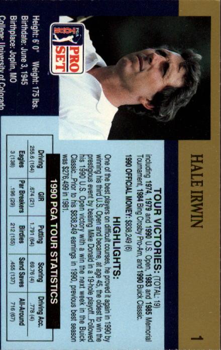 1990 Pro Set #1 Hale Irwin back image