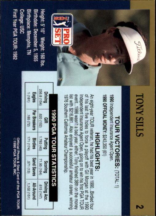 1990 Pro Set #2 Tony Sills RC back image
