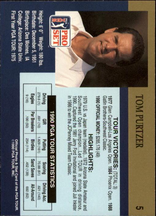 1990 Pro Set #5 Tom Purtzer back image