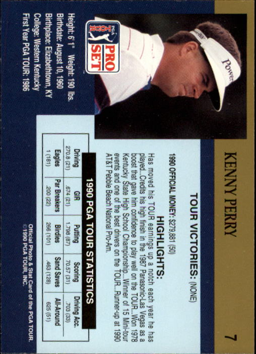 1990 Pro Set #7 Kenny Perry RC back image