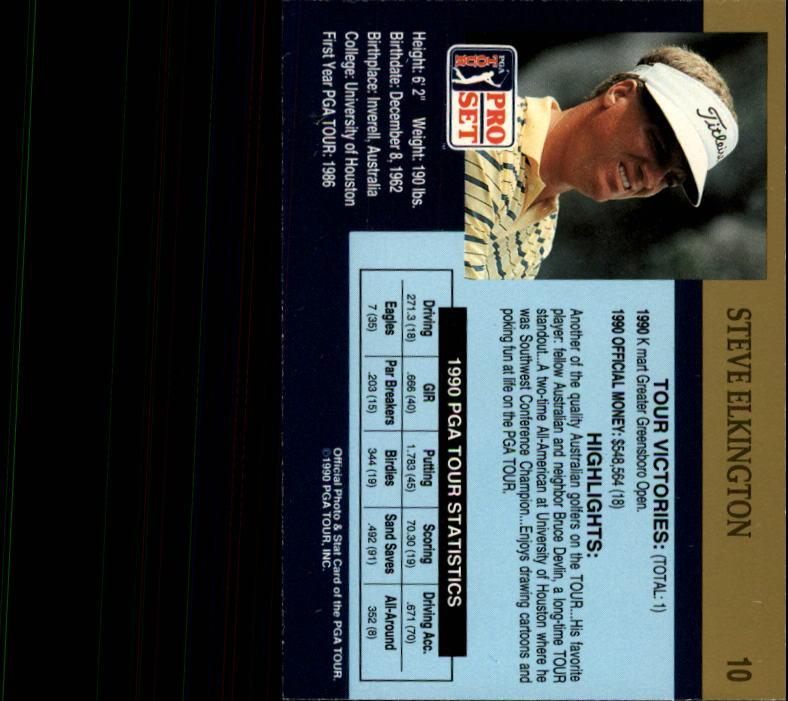 1990 Pro Set #10 Steve Elkington RC back image