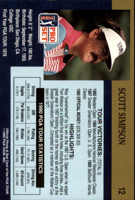 1990 Pro Set #12 Scott Simpson back image