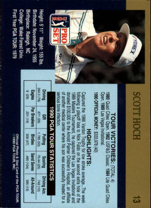 1990 Pro Set #13 Scott Hoch RC back image
