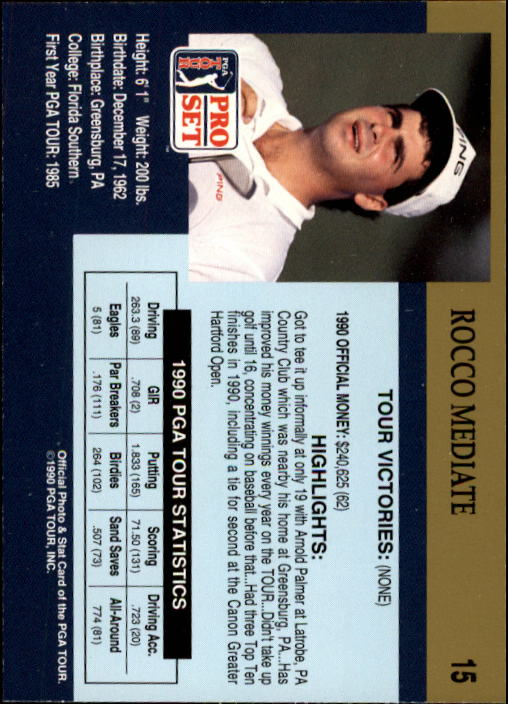 1990 Pro Set #15 Rocco Mediate RC back image