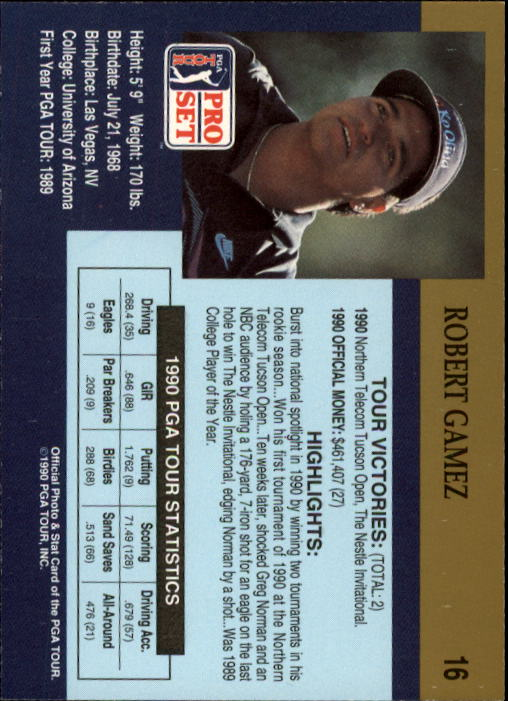 1990 Pro Set #16 Robert Gamez RC back image