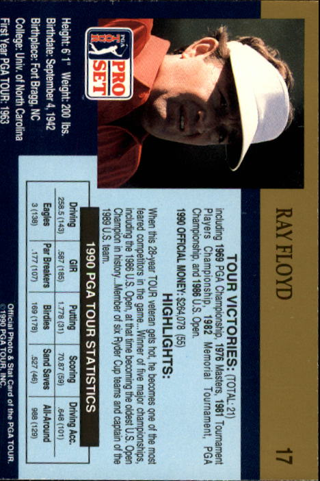 1990 Pro Set #17 Raymond Floyd back image
