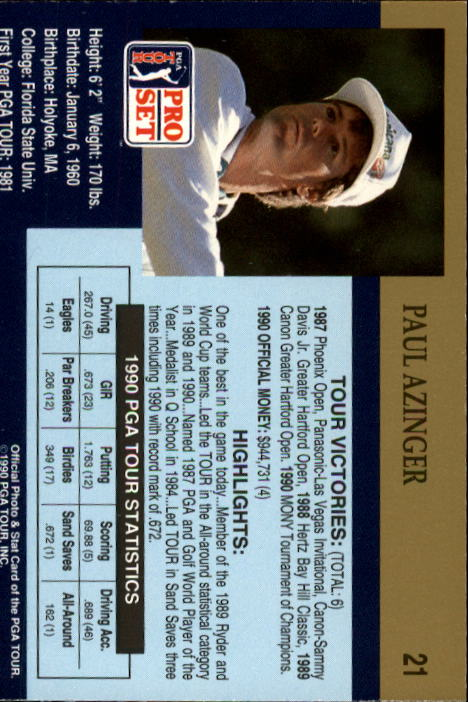 1990 Pro Set #21 Paul Azinger RC back image