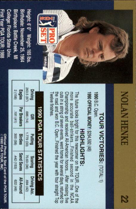 1990 Pro Set #22 Nolan Henke RC back image