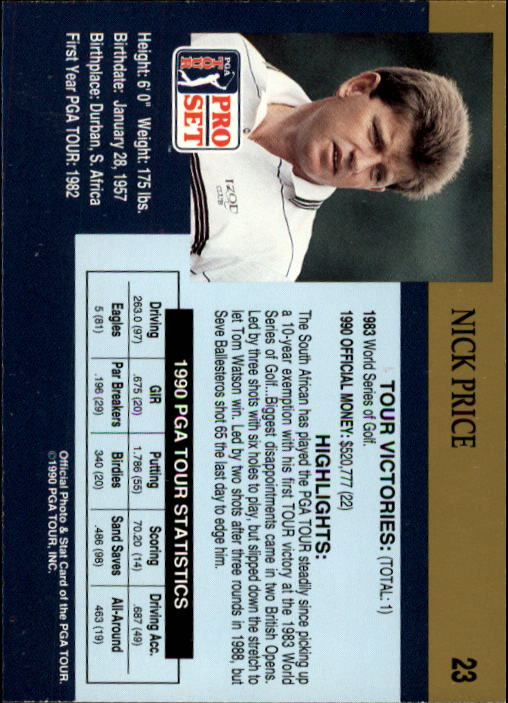 1990 Pro Set #23 Nick Price RC back image