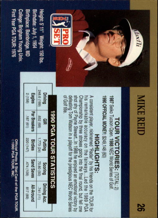 1990 Pro Set #26 Mike Reid back image
